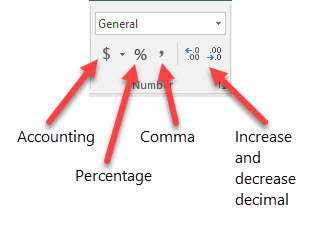 Excel - make accounting, currency, and number style zero decimal